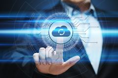 Begrepp för nätverk för lagring för internet för molnberäkningsteknologi royaltyfri foto