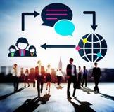 Begrepp för nätverkande för anslutning för globala kommunikationer socialt Arkivbilder