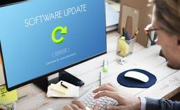 Begrepp för nätverkande för programuppdateringWebsiteWebpage royaltyfria bilder