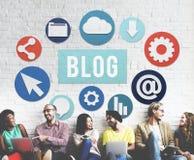 Begrepp för nöjd Website för blogg Blogging online- Arkivbild