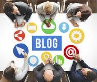 Begrepp för nöjd Website för blogg Blogging online- Royaltyfri Fotografi