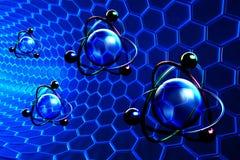 Begrepp för nanoteknik och för molekylär struktur stock illustrationer
