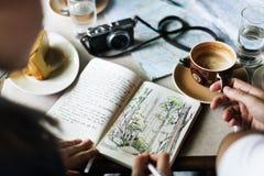 Begrepp för natur för teckning för kaffetabell Royaltyfri Bild
