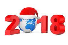 Begrepp för nytt år 2018 Santa Hat över jordjordklotet framförande 3d Arkivfoton