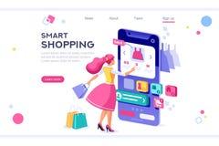 begrepp för objekt för E-kommers kvinnaköpare stock illustrationer