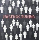 Begrepp för omstruktureringsprocess på svart tavla royaltyfria foton