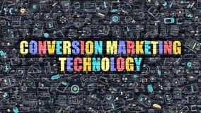 Begrepp för omvandlingsmarknadsföringsteknologi med klotterdesign Arkivbild