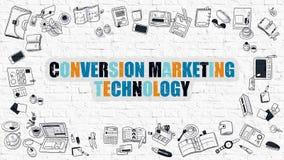Begrepp för omvandlingsmarknadsföringsteknologi med klotterdesign Royaltyfri Foto