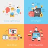 Begrepp för online-bankrörelsen för design för rengöringsduk för Digital marknadsföringsinvesteringar royaltyfri illustrationer