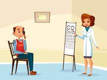 begrepp för ophtalmogogistsynförmågaprovning Vektor Illustrationer