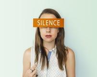 Begrepp för ord för tystnadfredlugn royaltyfria foton