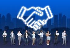 Begrepp för organisation för samarbete för avtalsaffärsarbete vektor illustrationer
