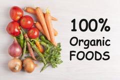 Begrepp 100% för organiska Foods Royaltyfria Bilder