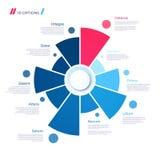 Begrepp för pajdiagram med 10 delar Vektormallen för rengöringsduk, presen stock illustrationer