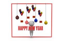 begrepp för parti för nytt år för man 3d Arkivfoton