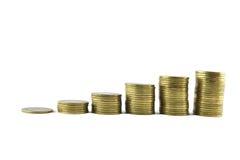 Begrepp för pengartillväxt på vit bakgrund Royaltyfri Fotografi