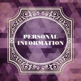 Begrepp för personlig information. Tappningdesign. Royaltyfri Bild