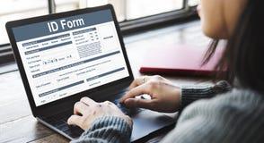Begrepp för personlighet för namn för identitet för legitimationformtecken fotografering för bildbyråer