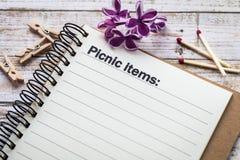 Begrepp för picknickobjektlista Fotografering för Bildbyråer