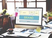Begrepp för plan UI för Website för märkesvarumärkesmarknadsföring Arkivbild
