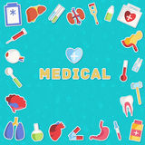 Begrepp för plana symboler för medicin fastställt vektor Royaltyfri Fotografi