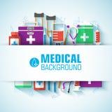 Begrepp för plana symboler för medicin fastställt vektor Royaltyfri Foto