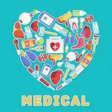 Begrepp för plana symboler för medicin fastställt vektor royaltyfri illustrationer