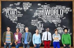 Begrepp för planet för liv för världsglobalisering internationellt Fotografering för Bildbyråer