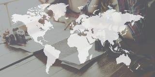 Begrepp för planet för världskartaglobaliseringkartografi globalt Royaltyfri Bild