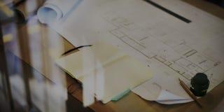 Begrepp för planläggning för arbete för konstruktionsritningprojekt Royaltyfria Bilder