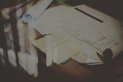 Begrepp för planläggning för arbete för konstruktionsritningprojekt Royaltyfri Bild