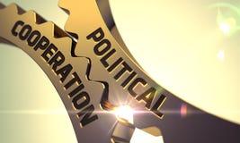 Begrepp för politiskt samarbete Guld- metalliska kugghjul 3d Arkivbilder