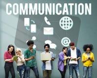 Begrepp för post för meddelande för kommunikationsjordklotanförande Fotografering för Bildbyråer