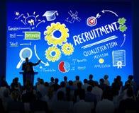 Begrepp för presentation för rekrytering för seminarium för affärsfolk arkivbilder