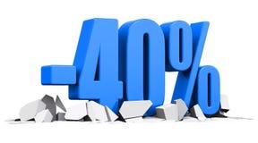 begrepp för 40 procent försäljnings- och rabattannonsering royaltyfri illustrationer