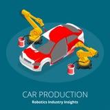 Begrepp för produktion för bilproducent eller bil Robotteknikbranschinblickar Automatisk och elektronik är bästa bransch stock illustrationer