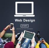 Begrepp för programvara för orientering för internet för Homepage för rengöringsdukdesign arkivbilder