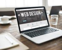 Begrepp för programvara för Website för internet för rengöringsdukdesign svars- Arkivfoto