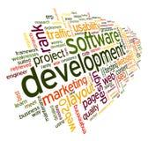 Begrepp för programvaruutveckling i etikettsmoln Arkivbild