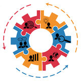 Begrepp för projektledning med kugghjulet Arkivfoto