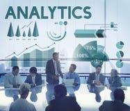 Begrepp för rapport för Analyticsmarknadsföringsaffär arkivfoto
