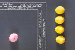 Begrepp för rasism, för diskriminering och för socialt uteslutande arkivbilder