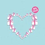 Begrepp för rea för shoppinghjärta stort vektor illustrationer