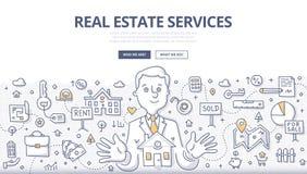 Begrepp för Real Estate serviceklotter royaltyfri illustrationer