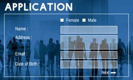 Begrepp för register för ansökningsblankettmanöverenhetsWebpage arkivbilder