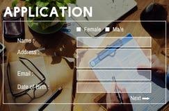 Begrepp för register för ansökningsblankettmanöverenhetsWebpage royaltyfri foto