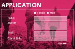 Begrepp för register för ansökningsblankettmanöverenhetsWebpage royaltyfri bild