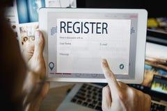 Begrepp för registerförfrågningsonline-webbsida arkivfoto