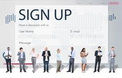 Begrepp för registerförfrågningsonline-webbsida arkivfoton