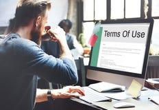 Begrepp för reglering för politik för användarvillkorvillkorregel arkivfoto